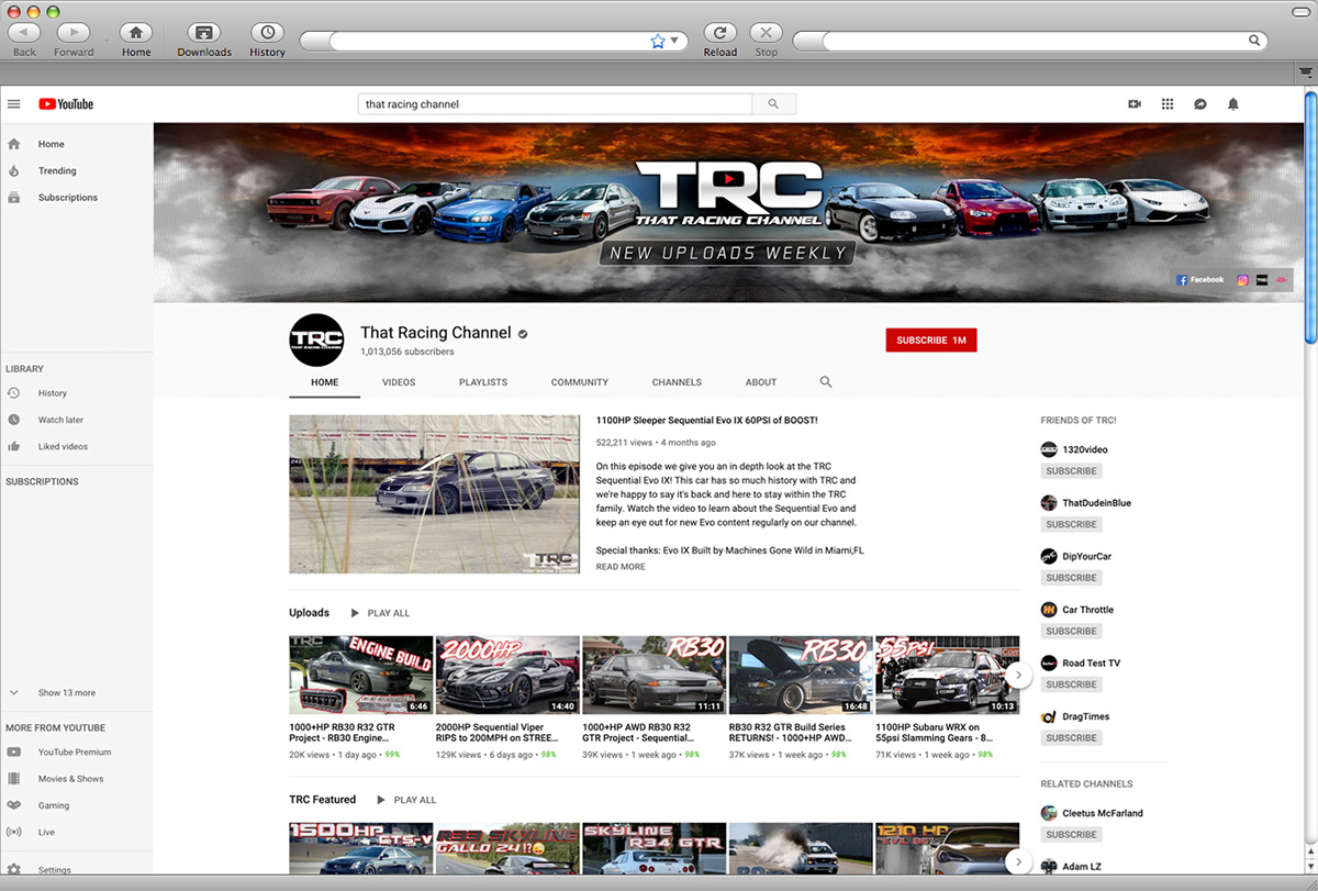 TRC - That Racing Channel - YouYube cover design - Projekt Group Marketing